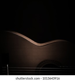 Acoustic guitar classical spanish guitar close up. Classic musical instruments