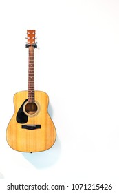 Acoustic guitar with copy space.