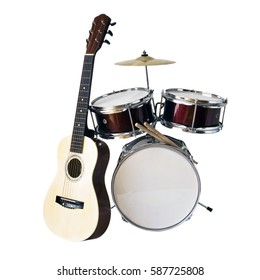 Acoustic guitar and drum kit isolated on white background