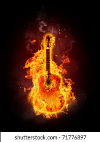 Acoustic guitar in fire and flames