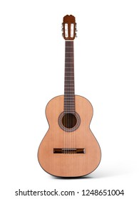 Acoustic guitar isolated on white. Classical woden guitar