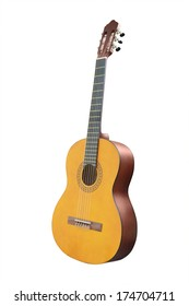 An acoustic guitar isolated on a white background.