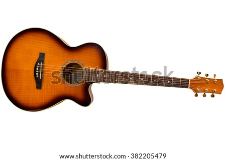 Acoustic Guitar Isolated On White Background Stock Photo Edit Now