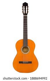 Akustische Gitarre einzeln auf weißem Hintergrund