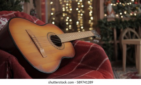 Acoustic Guitar Lights Abstract New Year Stock Photo (Edit Now
