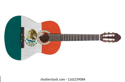 Acoustic guitar with Mexico Flag isolated on white background