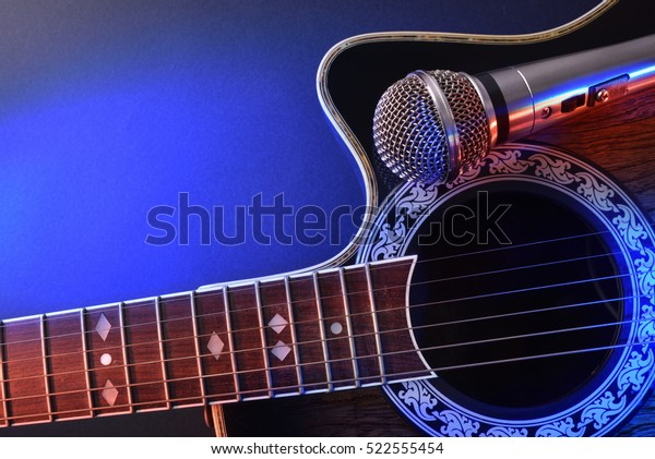 Acoustic Guitar Microphone Isolated Red Blue Stock Photo (Edit Now