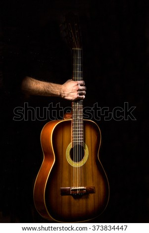 Acoustic Guitar On Black Background Stock Photo Edit Now 373834447