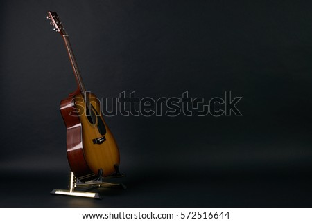 Acoustic Guitar On Black Background With Stock Photo Edit Now