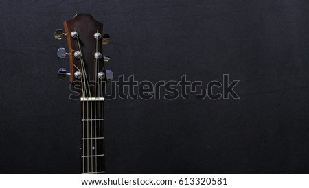 Acoustic Guitar On Black Background Closeup Stock Photo Edit Now