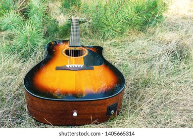 Acoustic guitar is on the ground. Musical instrument in the grass