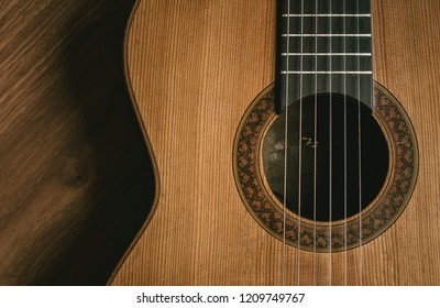 acoustic guitar on the table