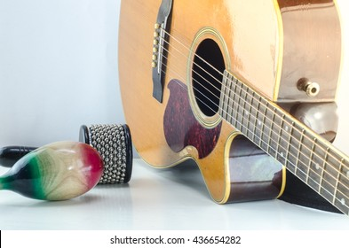 Acoustic guitar Percussion Accessories music White background