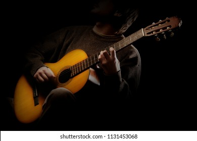 Acoustic guitar player. Classical guitarist playing guitar spanish isolated