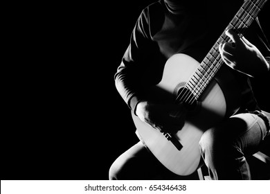 Acoustic guitar player. Guitarist classical guitar music instrument