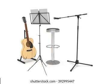 Acoustic guitar, stool, music stand and microphone. Isolated on white background.