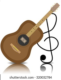 Acoustic guitar with a treble clef. Musical instrument, classical sound, string and play, graphic illustration