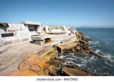 The acoustic musical instrument Wave Organ is lapped by gentle waves of the Bay, a lesser known tourist attraction in San Francisco, California. Horizontal copy space