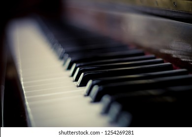 Acoustic Piano Keys with Bokeh