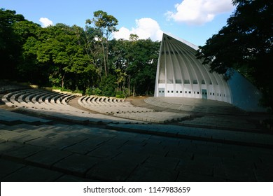 Acoustic shell, traditional venue for outdoor shows in Portugal Park as known as Taquaral Park, in Campinas city of São Paulo state, Brazil in the afternoon.