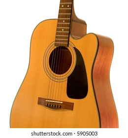 acoustical guitar isolated on a white