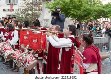 Acquapendente, ITALY - MAY 18 2014 - Festa dei Pugnaloni, Festival in the City Center