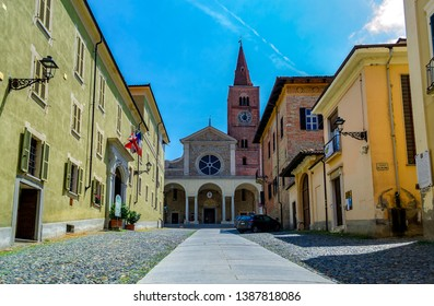 ACQUI TERME, ALESSANDRIA, PIEDMONT, ITALY - June 3, 2018: View of the Cathedral of Santa Maria Assunta in Romanesque style, in the historic center.