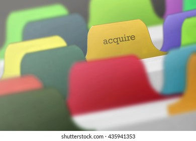 acquire word on index card