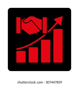 Acquisition Growth raster icon. This flat rounded square button uses intensive red and black colors and isolated on a white background.