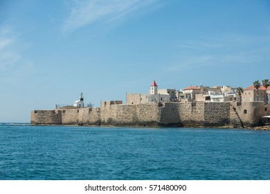 ACRE (AKKO), ISRAEL - APRIL 3, 2016: Seaview of the city and it's wall of Akko (Acre), Israel