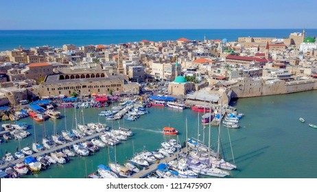 Acre, Israel - Aerial image of the old city, the ancient port and marina