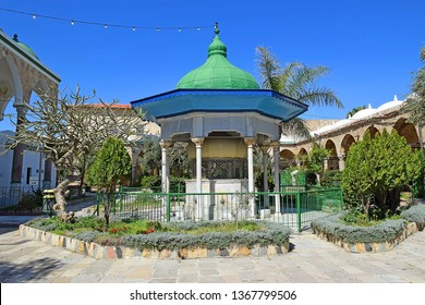 ACRE, ISRAEL - April 11, 2019: courtyard in the Jezzar Pasha Mosque, also known as the White Mosque in Acre ( Akko ), Israel