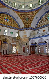 ACRE, ISRAEL - April 11, 2019: interior of the Jezzar Pasha Mosque, also known as the White Mosque in Acre ( Akko ), Israel