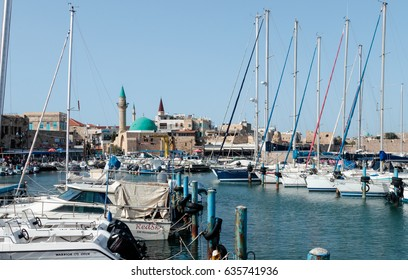 Acre, Israel - April 20, 2017 : View from the marina of the old city of Acre and its marina in Israel