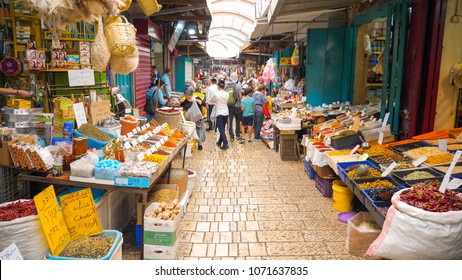 Acre, Israel - December 23, 2017: The old Bazaar and market of Acre, Packed with hundreds of shops and restaurants.