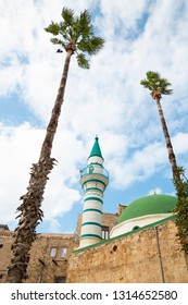 Acre, Israel, Middle East - December27, 2018:View from below of E-Zaitune Mosque in the fortress in the old city of Acre in Israel.