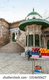 Acre, North District,  Israel - December27, 2018: The central entrance to Al Jazar mosque, a white sabil, built in rampart - Acre, Israeli Old City of Acre (Akko) on Mediterranean, Middle East, Israel