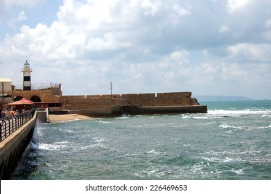 Acre (or Akko) Lighthouse in Israel watches over Haifa Bay on the Mediterranean Coast.
