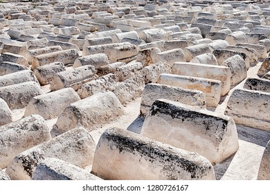 Acres of similar white tombs fill the old Jewish cemetery in the Mellah neighborhood of Marrakech, Morocco.