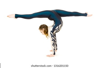 Acrobat doing gymnastics, a young athlete in a white and blue suit , practicing acrobatics. Isolated images on white background.