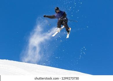 acrobatic jump on skis