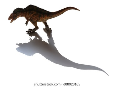 acrocanthosaurus toy with shadow on a white background