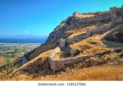 ACROCORINTH, GREECE - JULY 12, 2009: fortification of Acropolis Ancient Corinth