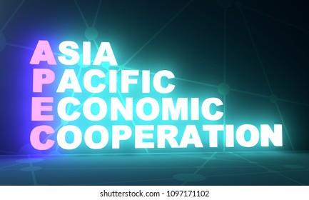 Acronym APEC - Asia Pacific Economic Cooperation. Business conceptual image. 3D rendering. Neon bulb illumination. Global teamwork.