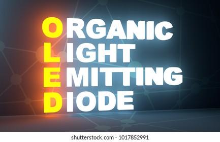 Acronym OLED - Organic Light Emitting Diode. Technology conceptual image. 3D rendering. Neon bulb illumination