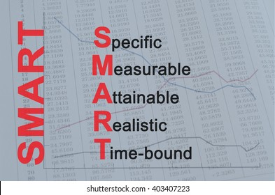 Acronym SMART as Specific, Measurable, Attainable, Realistic, Time bound. Conceptual image