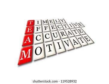 Acronym of Team - timely, effective,accurate, motivate