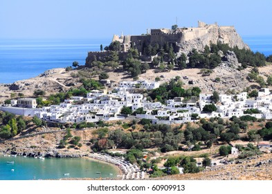 Acropolis in the ancient town Lindos. Rhodes. Greece