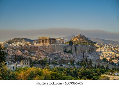 The Acropolis of Athens. Amazing view from filopappos hill at sunset