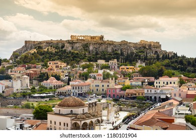 The Acropolis of Athens is an ancient citadel located on a rocky outcrop above the city of Athens and contains the remains of several ancient buildings of great architectural and historic significance